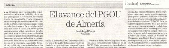 """Article by José Ángel Ferrer, """"Avance del PGOU de Almería""""."""