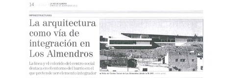 """La Voz de Almería. 20/03. """"Los Almendros""""."""