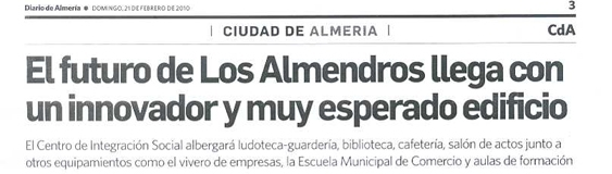 "Newspaper of Almeria. 21/02. ""Los Almendros""."