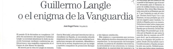 Artículo de José Ángel Ferrer, «Guillermo Langle o el enigma de Vanguardia».