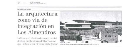La Voz de Almería. 20/03. «Los Almendros».